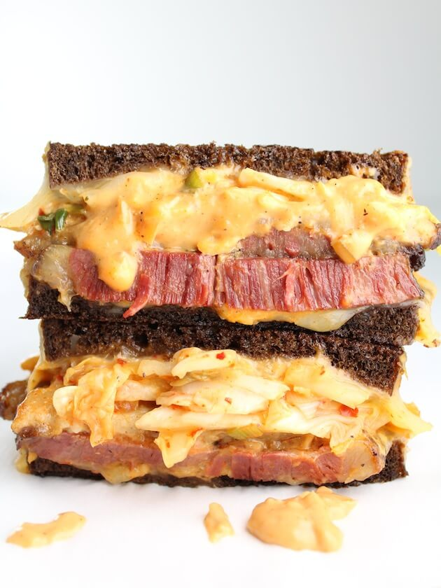 jaw dropping closeup of reuben sandwich with kimchi!