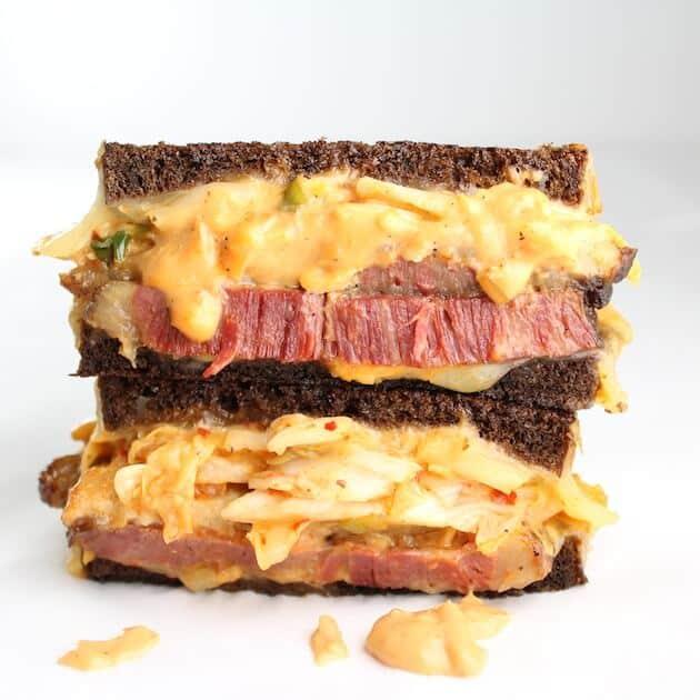 The Kimchi Reuben Sandwich Image: Corned Beef, Swiss, Kimchi, Sauerkraut