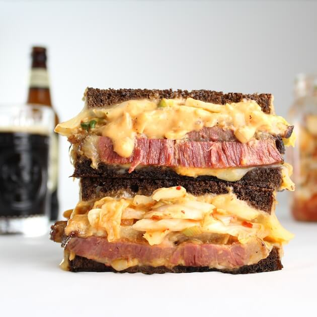 Reuben Sandwich with beer in the background