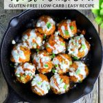 Low carb buffalo chicken meatballs in a skillet