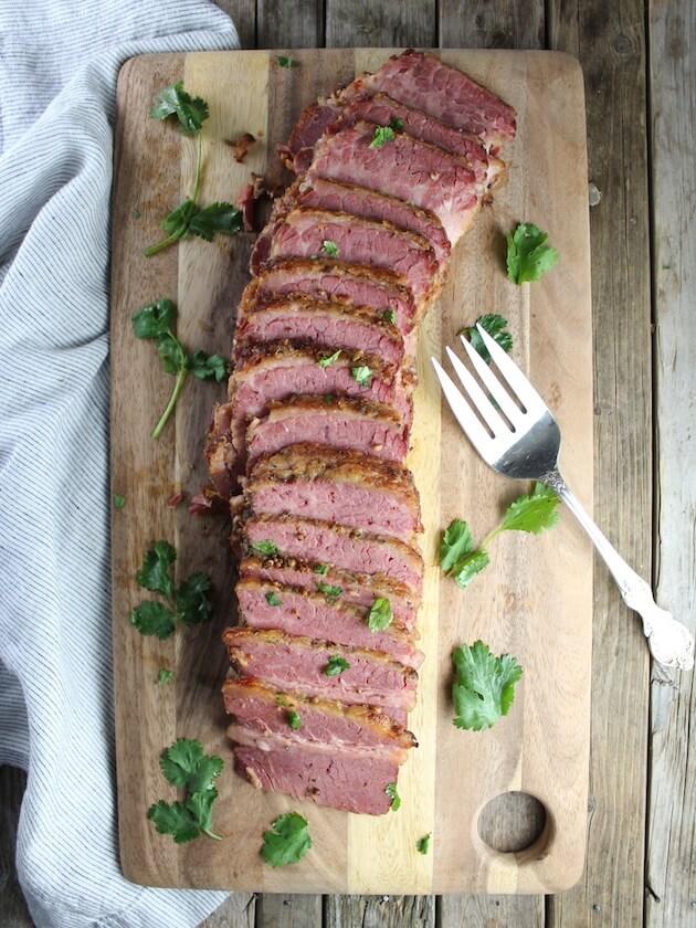 Sliced Corned Beef on cutting board