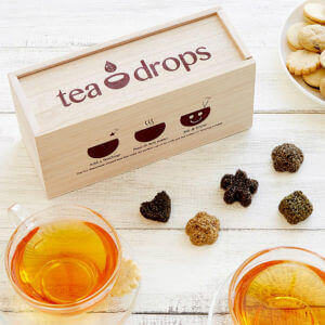 Wooden gift crate with no - brew hot Tea Drops