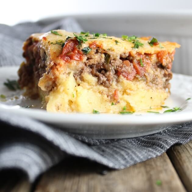 Lasagna With Parmesan Polenta on a plate