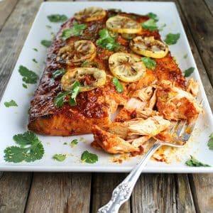 Cedar plank harissa smoked salmon on platter