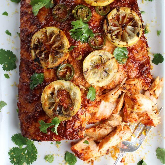 Cedar Plank Harissa Smoked Salmon on a platter