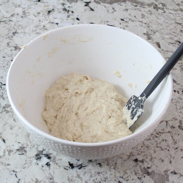 Pizza dough mixed in mixing bowl