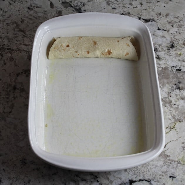 one tortilla in pan