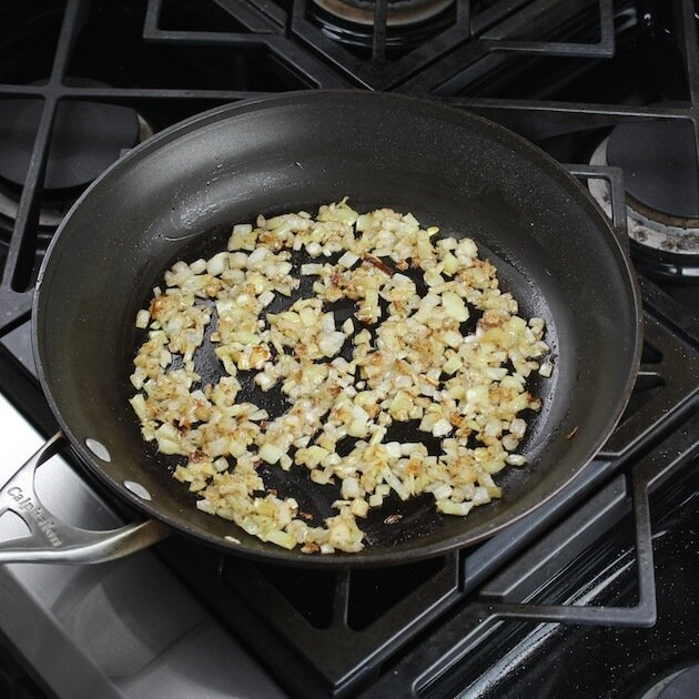 onions cooking in saute pan