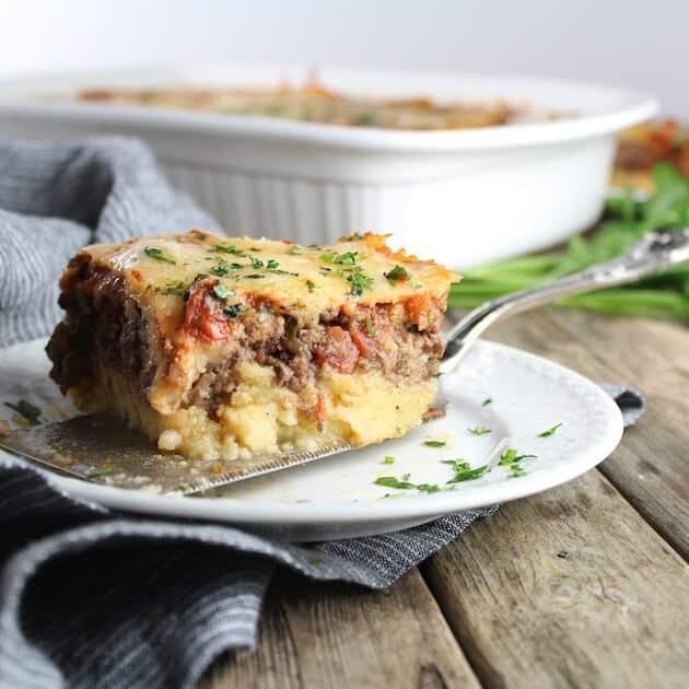 Piece of Lasagna on serving spatula