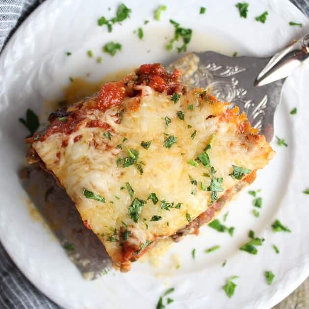 Lasagna with lamb and parmesan polenta