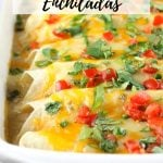 Chicken Enchiladas in casserole dish