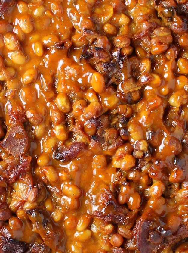 Baked Beans with big pieces of bacon closeup