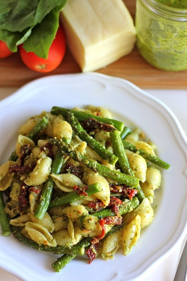 Pasta Salad with pesto on white plate