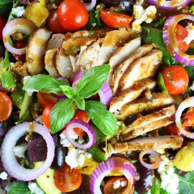 Close up Grilled Chicken Salad with many vegetables