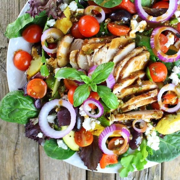 Partial platter of Grilled Mediterranean Chicken Salad