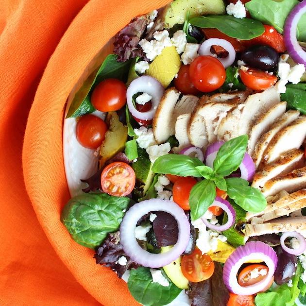 Partial plate of Grilled Mediterranean Chicken Salad