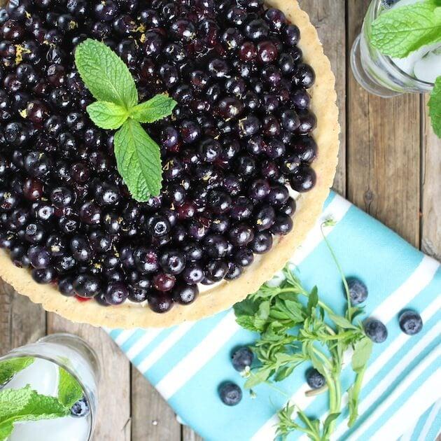 Blueberry Tart with mint garnish