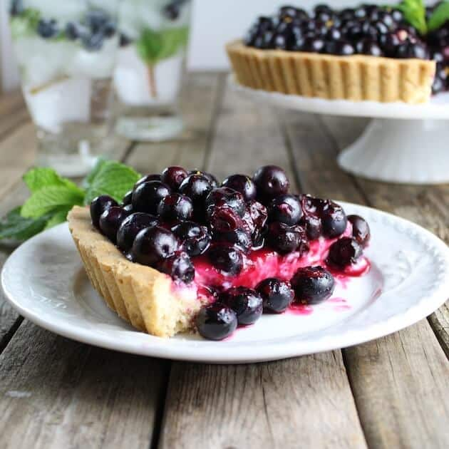 Slice of Blueberry Tart on plate