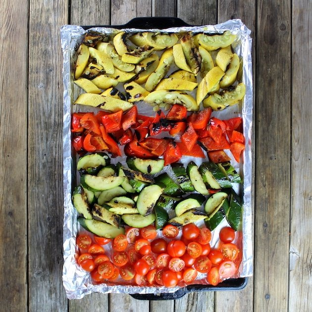 Grilled Vegetables on foil-lined baking sheet