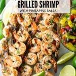 shrimp skewers with pineapple salsa on platter