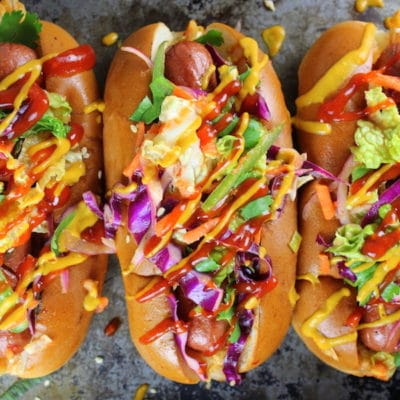 Korean Slaw Dog and White Claw Hard Seltzer