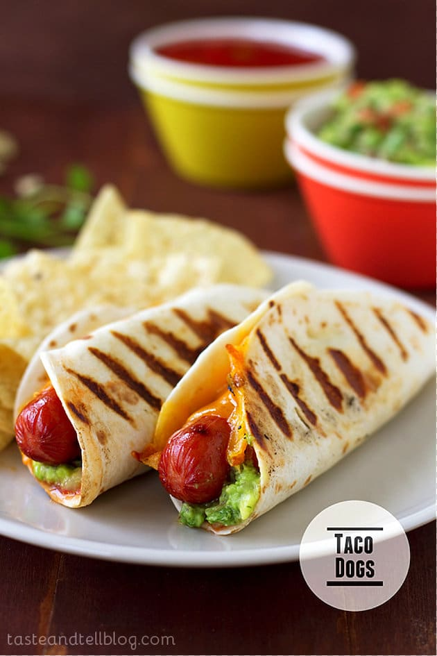 Two hot dogs in flour tortillas