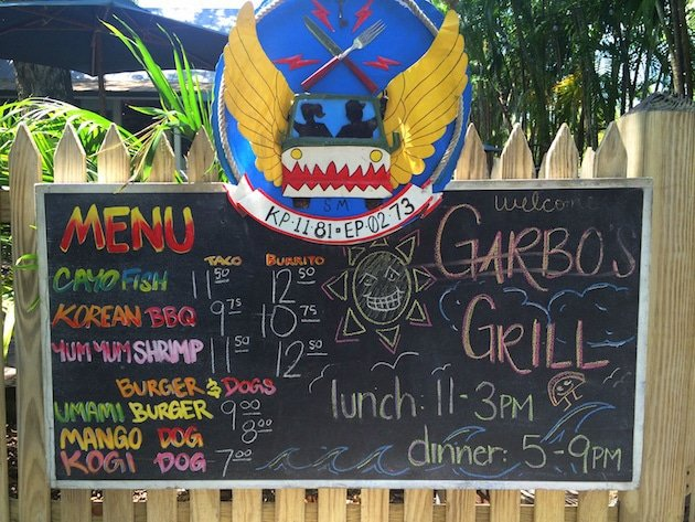 Colorful chalkboard menu at Garbo\'s Grill in Key West