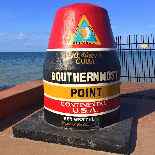 Key West Marker of Southernmost Point in the US, by the gulf of Mexico