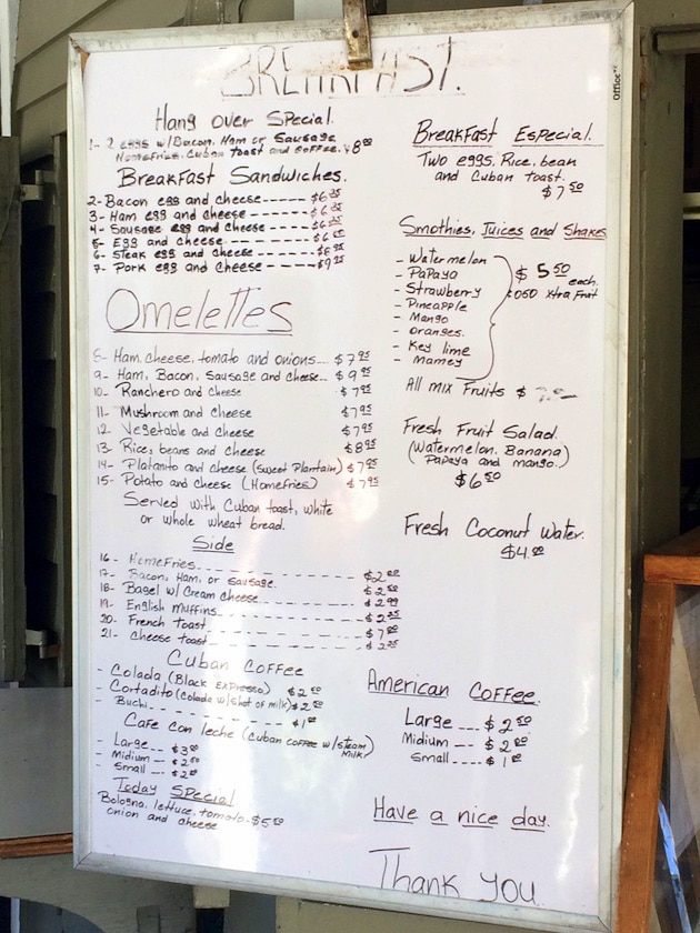 Hand written menu on whiteboard for Ana's Cafe Key West