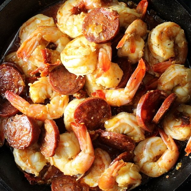 Cooked shrimp and chorizo appetizer