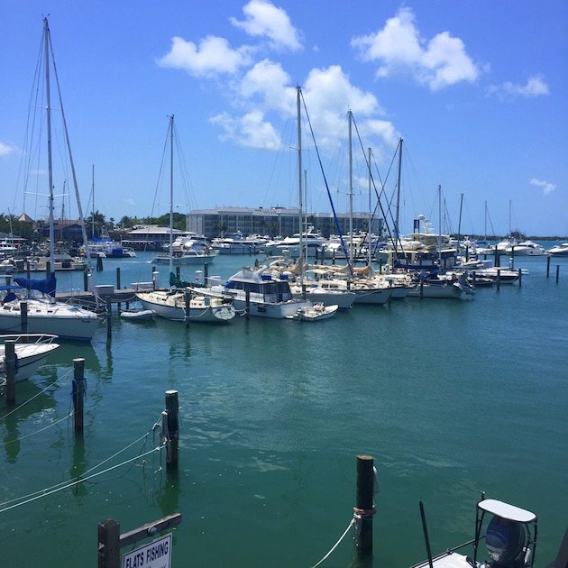View of small sailboats in harbor Key West Florida