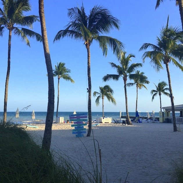 Beach with palm trees at Southernmost Beach Resort in Key West