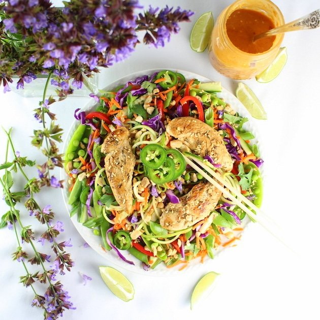 Chicken Satay Zoodle Salad