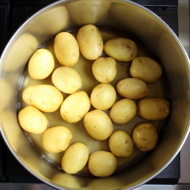 Cooking baby potatoes in large pot
