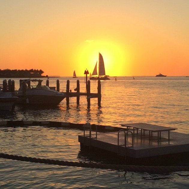 Key West view of Sunset from Galleon Tiki Bar