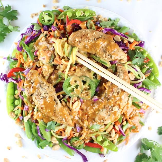 Asian salad with peanut chicken satay