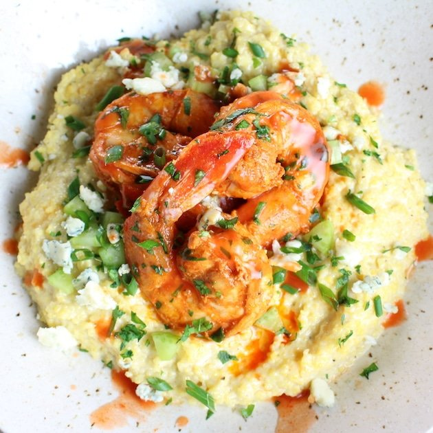 Buffalo Shrimp and Blue Cheese Grits