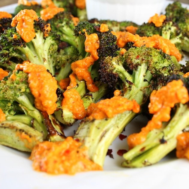 Grilled Broccoli with Garlic Roasted Red Pepper Sauce eye level
