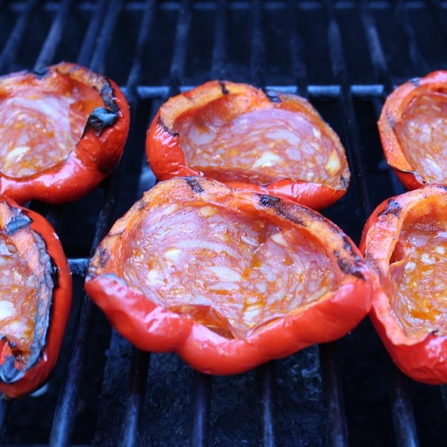 Red peppers after grilling