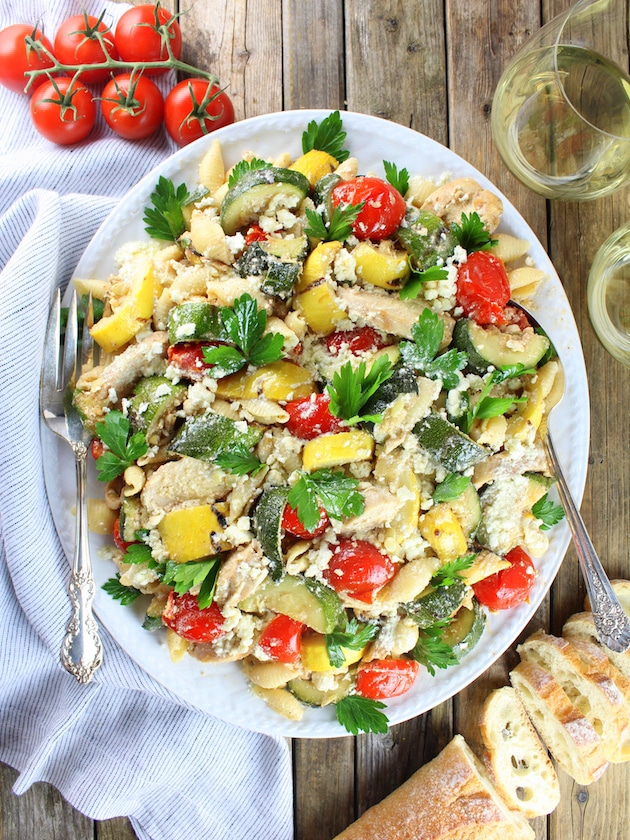 Grilled Chicken and Squash with Tomato Feta Pasta