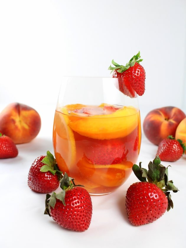Strawberry Peach Rosé Sangria in a glass