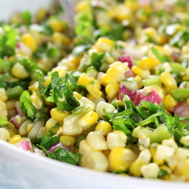 Very close up eye level Jalapeño Cilantro Corn Salad