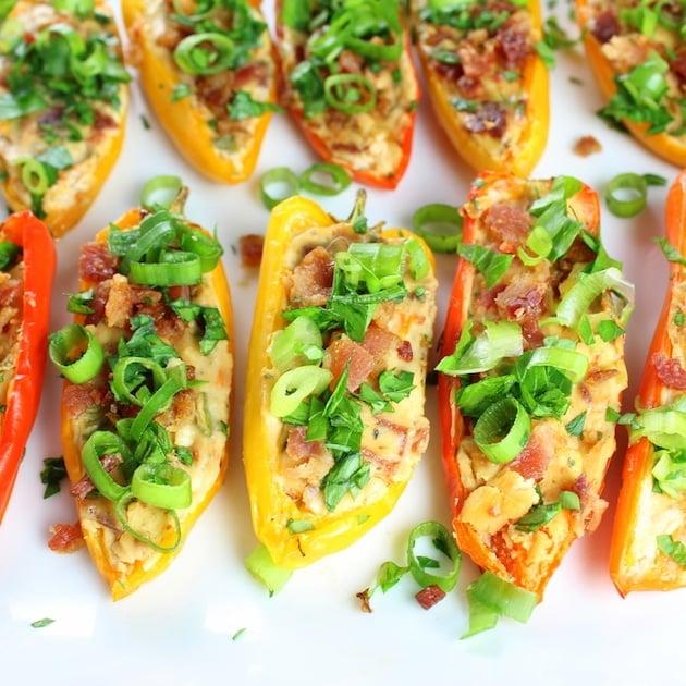 Closeup stuffed mini peppers