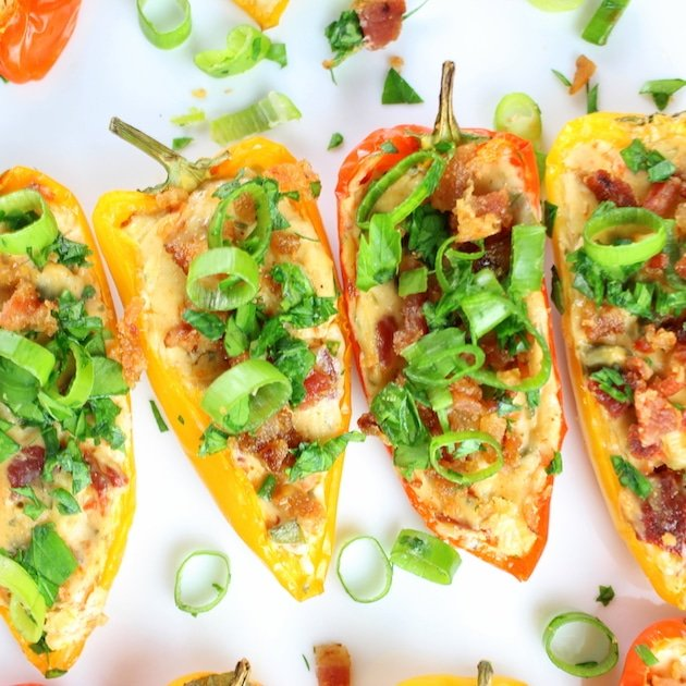 Cheesy Ranch Stuffed Mini Peppers close up