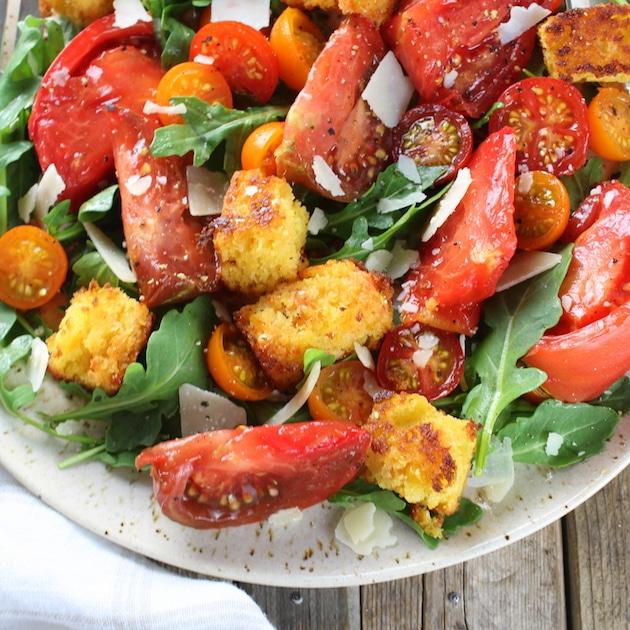 Partial platter close up Heirloom Tomato Cornbread Salad