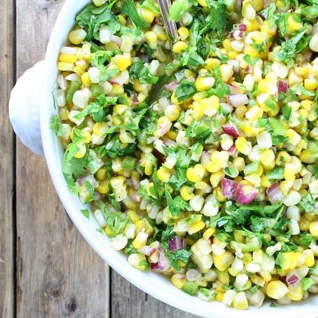 Partial bowl over top Jalapeño Cilantro Corn Salad
