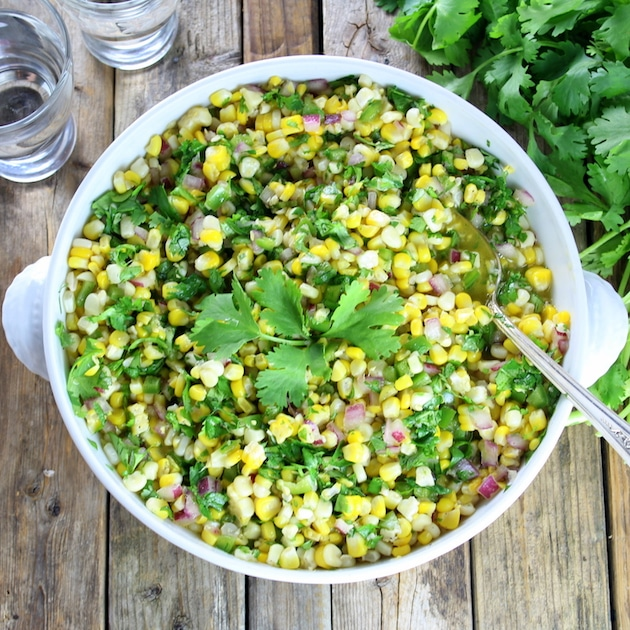 dish Jalapeno corn salad over heard