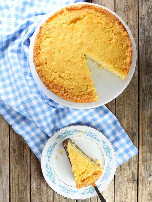 Over top Caribbean Cornbread with slice cut out