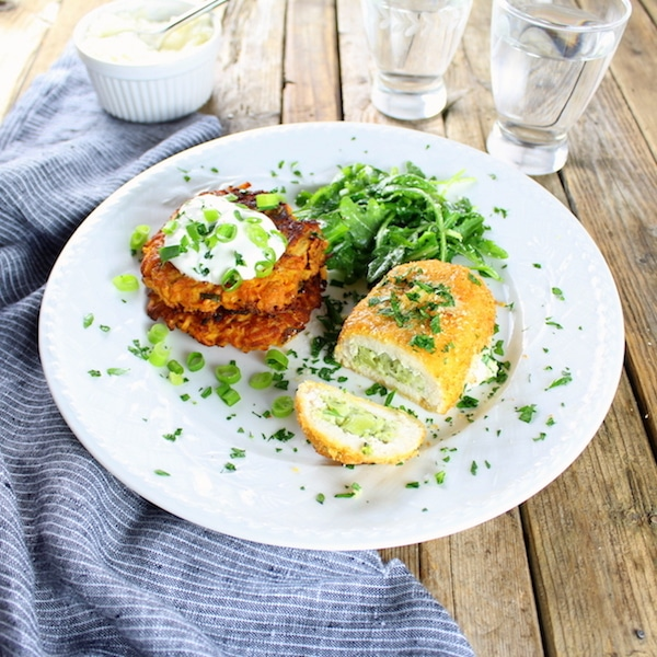 Parmesan Sweet Potato Cakes with Barber Foods Broccoli & Cheese Chicken