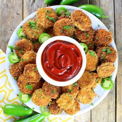 Fried Pickles with Sriracha Ketchup
